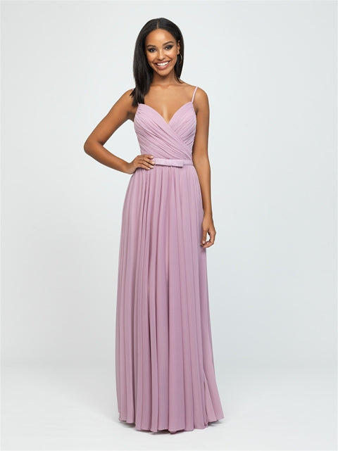 Mauve Ruched Chiffon Dress