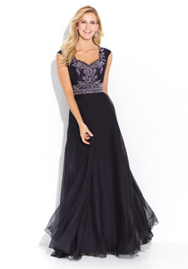 Black Modest Embellished Dress