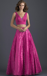 Hot Pink 2-Piece Glitter Dress