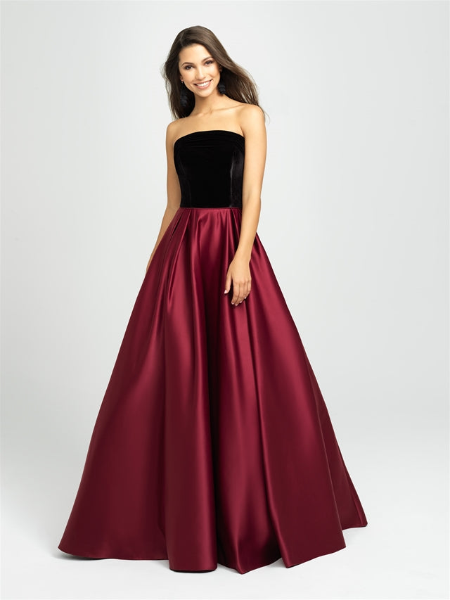 Black and Burgundy Strapless Velvet Bodice Ballgown
