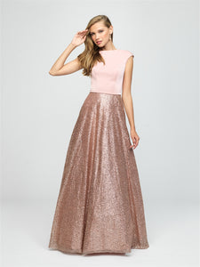 Rose Gold Modest Glitter Dress