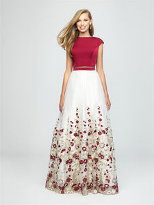 Burgundy and Ivory 2-Piece Floral Embroidered Dress