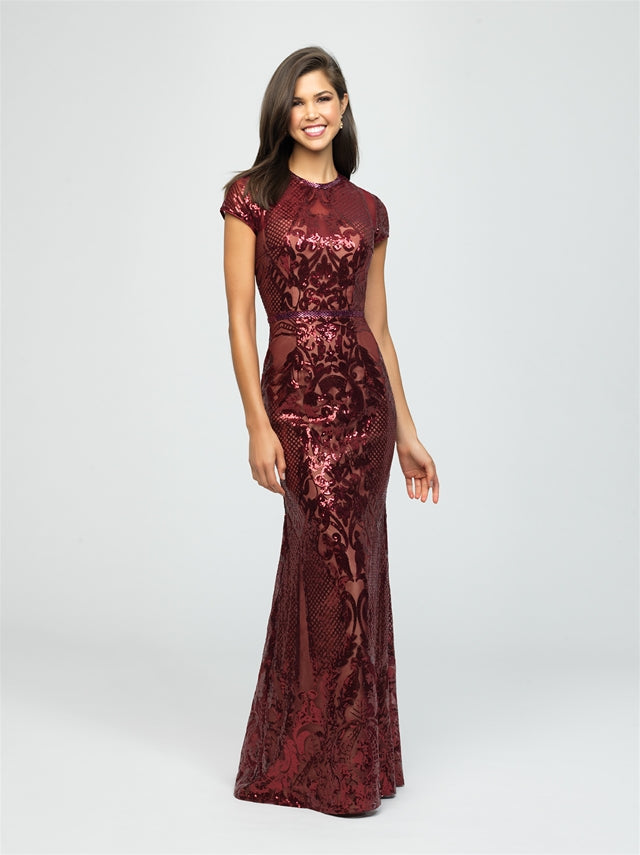 Modest Glittered Design Fitted Dress - Size 2, 6, 10