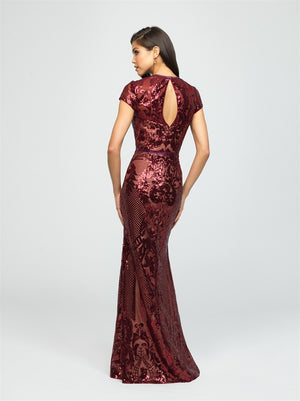 Burgundy Modest Glittered Design Fitted Dress