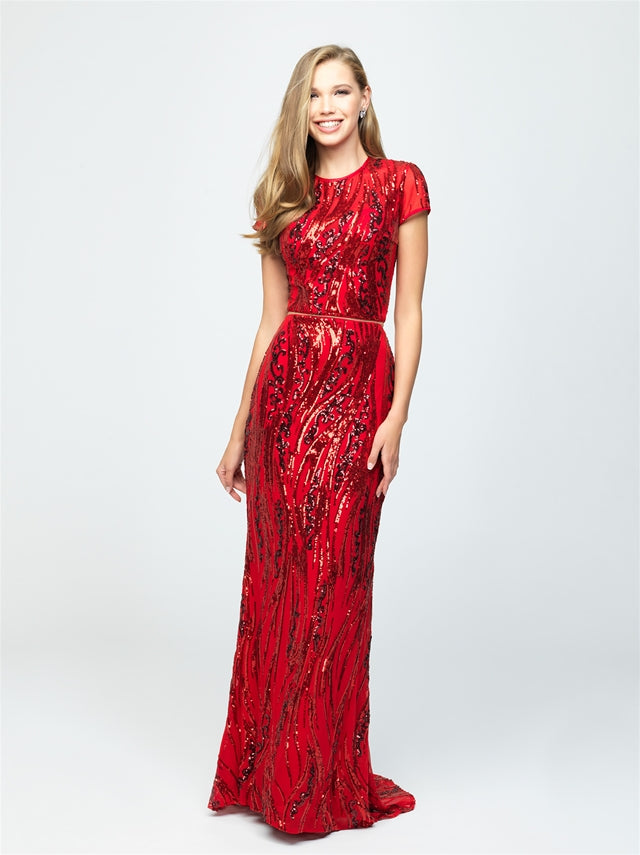 Red Modest 2-Piece Sequin Dress