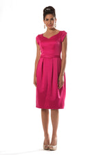 Fuchsia Modest Satin Short Dress
