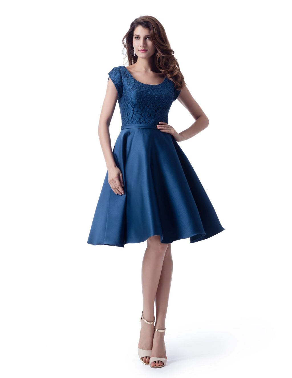 Blue Modest Lace and Satin Short Dress