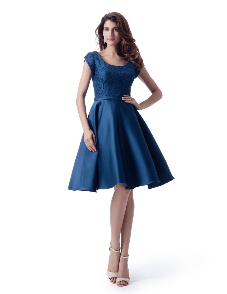 Modest Blue Lace and Satin Short Dress -  Size 16