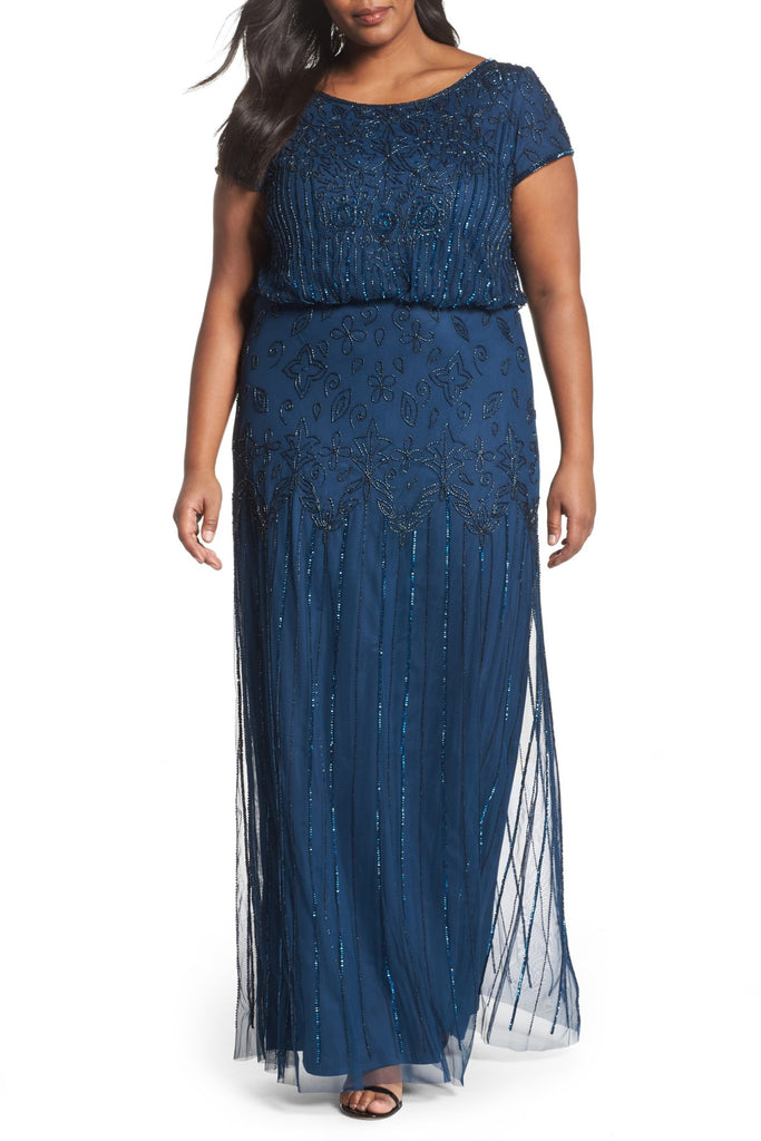 Deep Blue Modest Beaded Dress - Size 22
