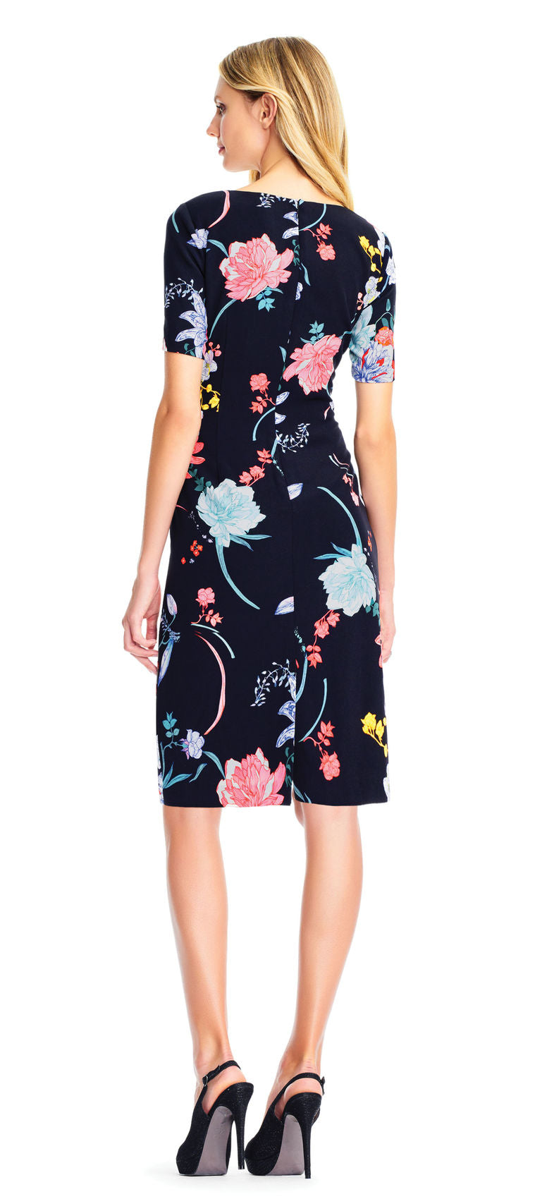 Black Floral Sheath Short Dress