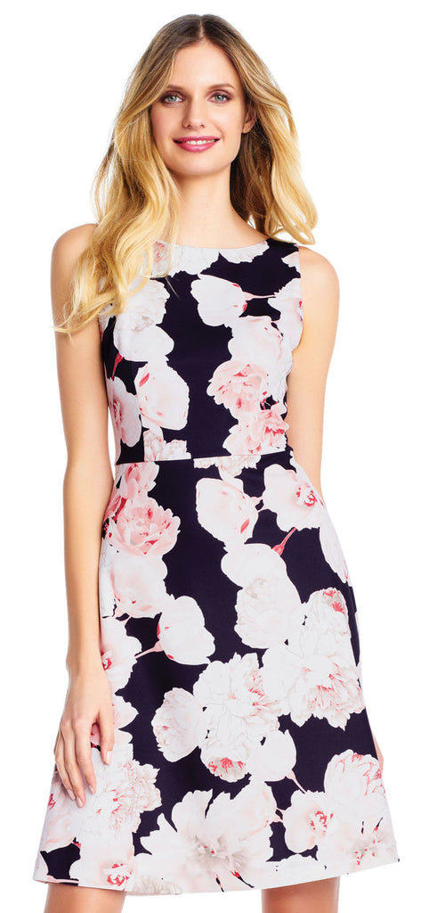 Black and Pink Floral Short Dress - Size 6