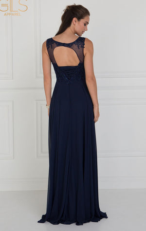 Navy Beaded Bodice Keyhole Dress
