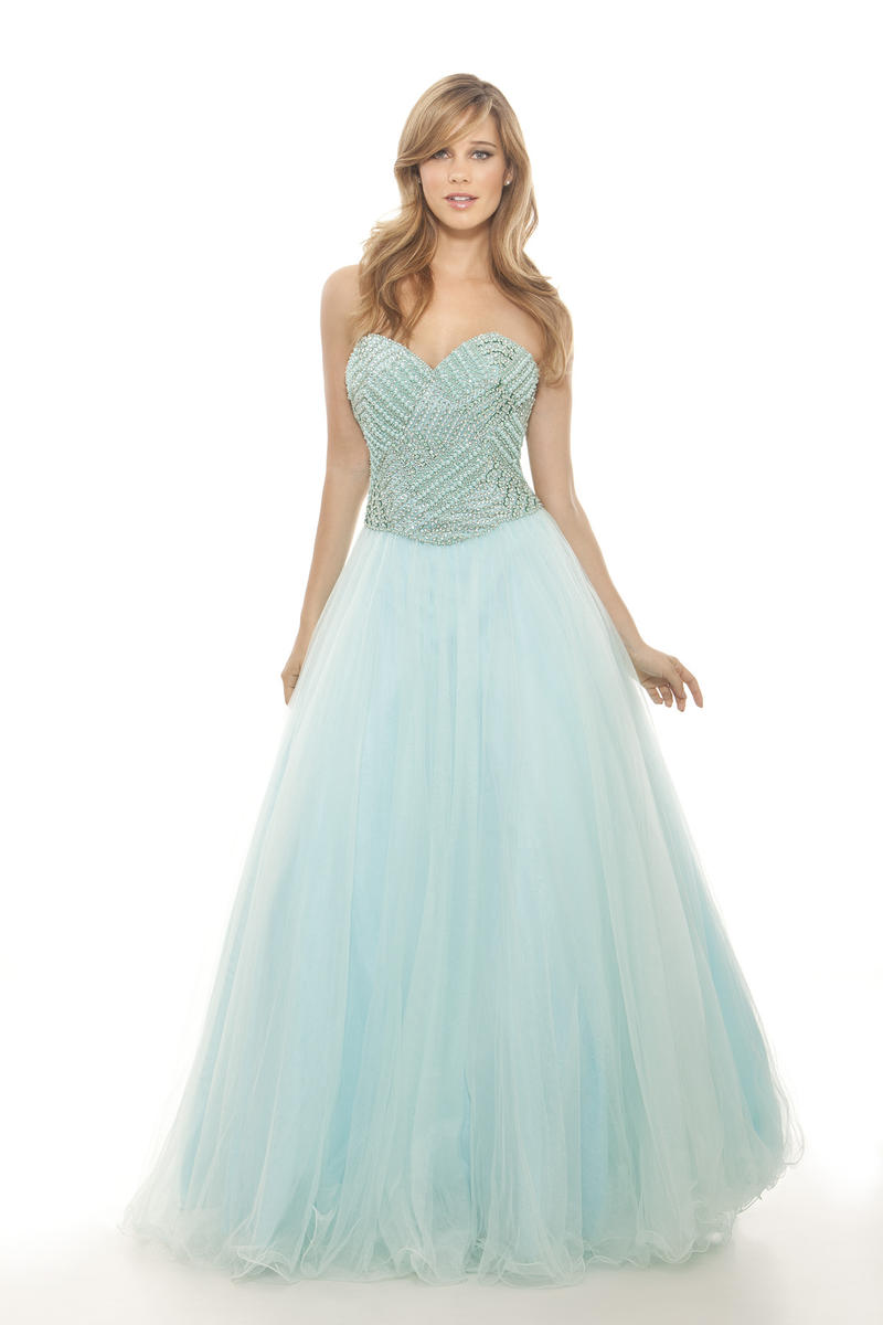 Aqua Strapless Beaded Ballgown