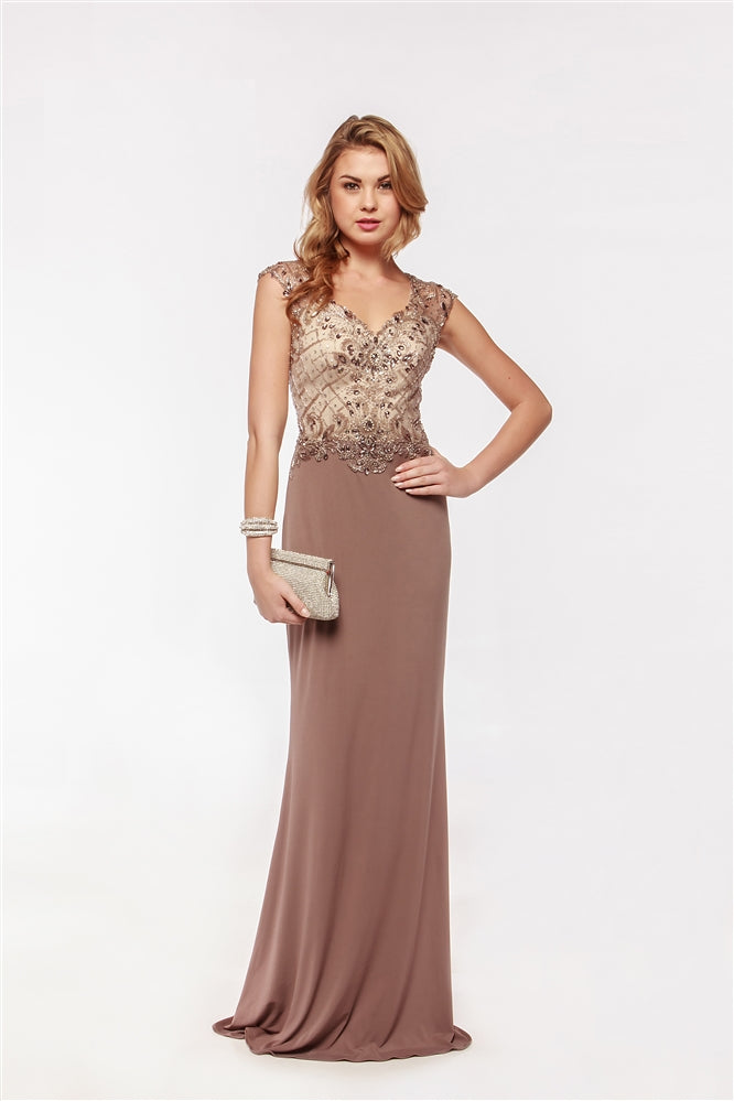 Mocha Sheer Cap Sleeve Jeweled Dress