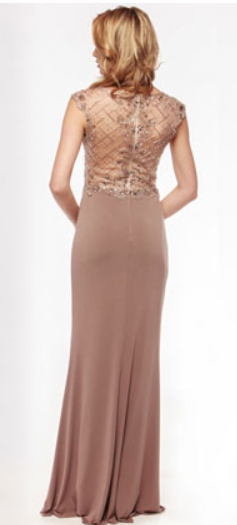 Sheer Cap Sleeve Jeweled Dress - Size 12, 14