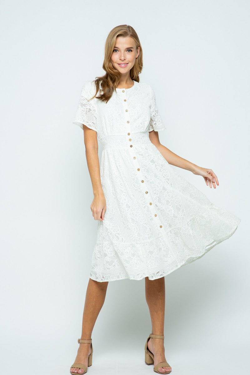 White Short Sleeve Lace Midi