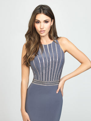 Gray Beaded Tank Dress