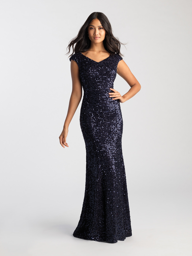 Navy Cap Sleeve Sequin Gown