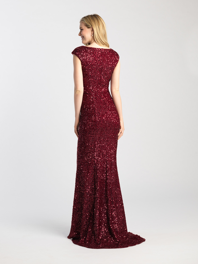 Burgundy Cap Sleeve Sequin Gown