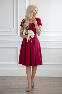 Burgundy Modest Short Dress