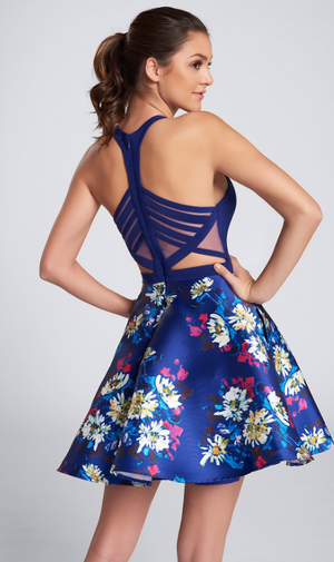 Royal Blue Floral Mikado Short Dress
