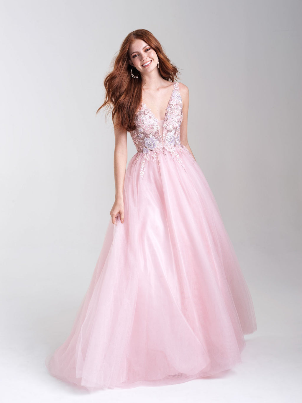 Blush Embroidered Deep V-Neck Ballgown