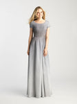 Silver and Gray Ombre A-Line Gown