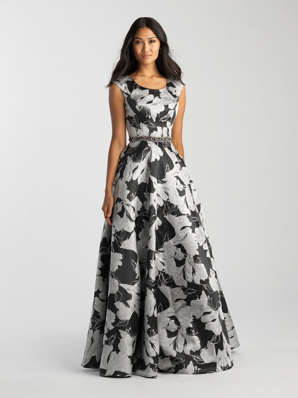 Silver Floral Modest Gown