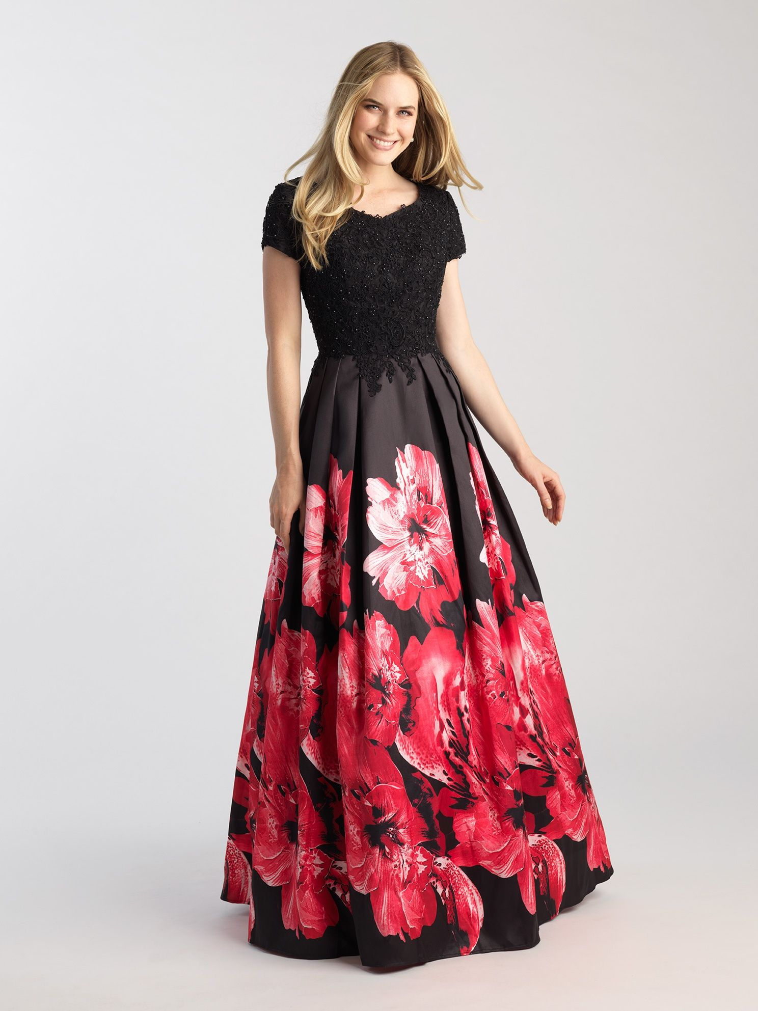 Black/Red Modest Large Blossom Gown