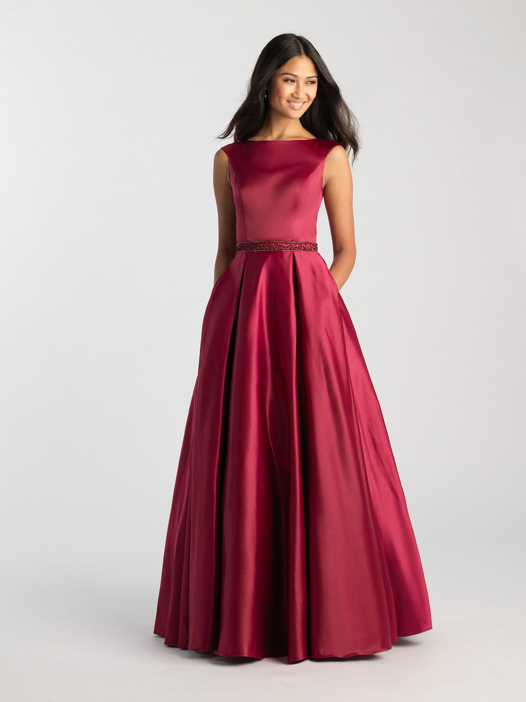 Burgundy Bateau Modest Pleated Gown