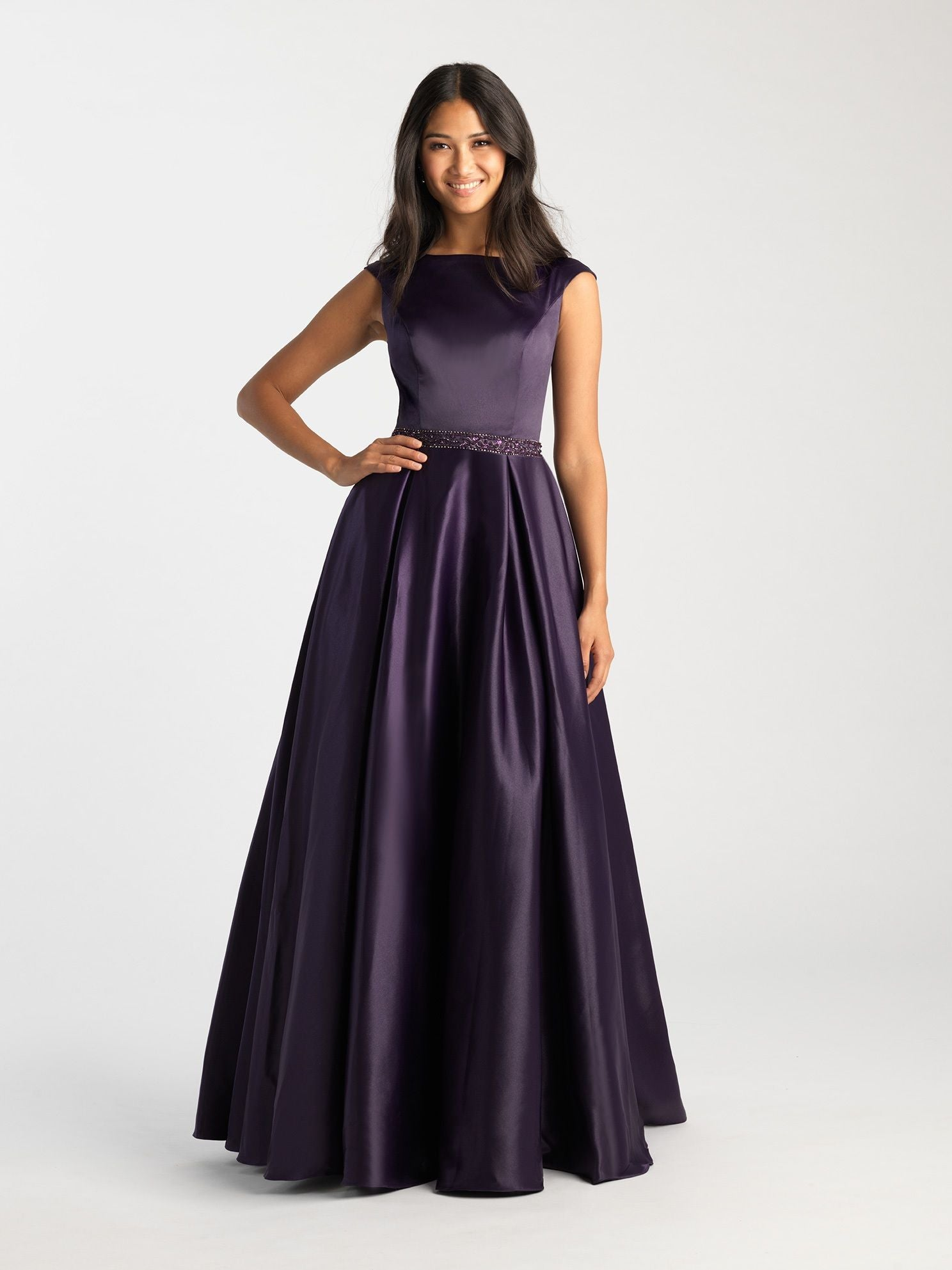 Purple Bateau Modest Pleated Gown