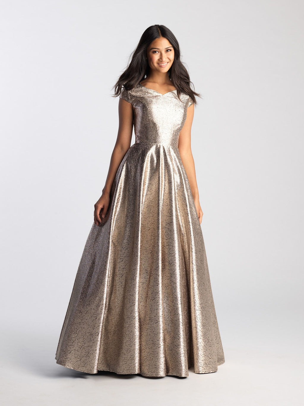 Gold Cap Sleeve Modest Ballgown