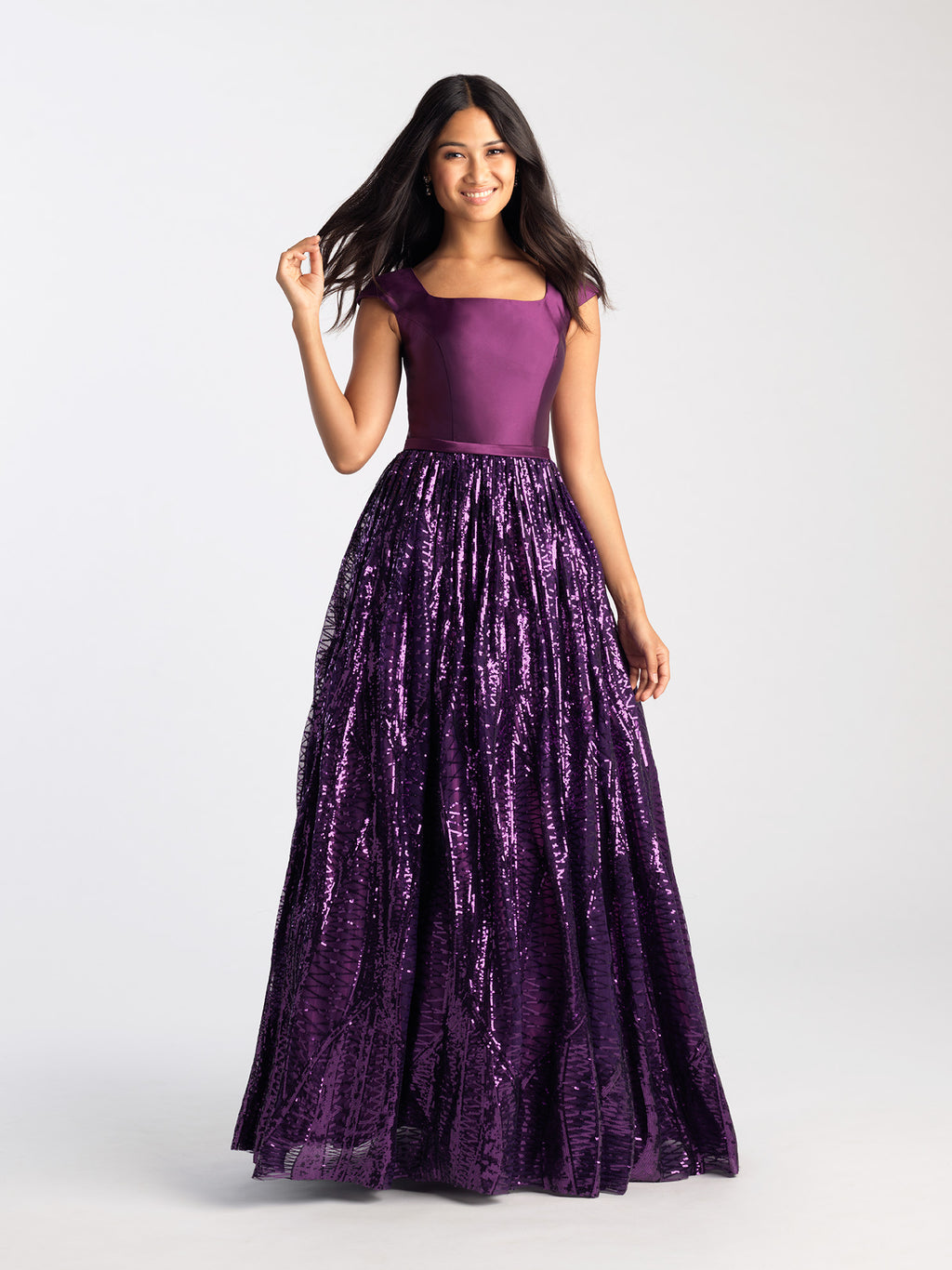 Purple Sequin Skirt Gown