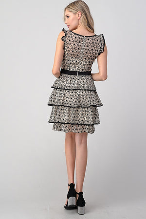 Black and White Flower Layered Dress