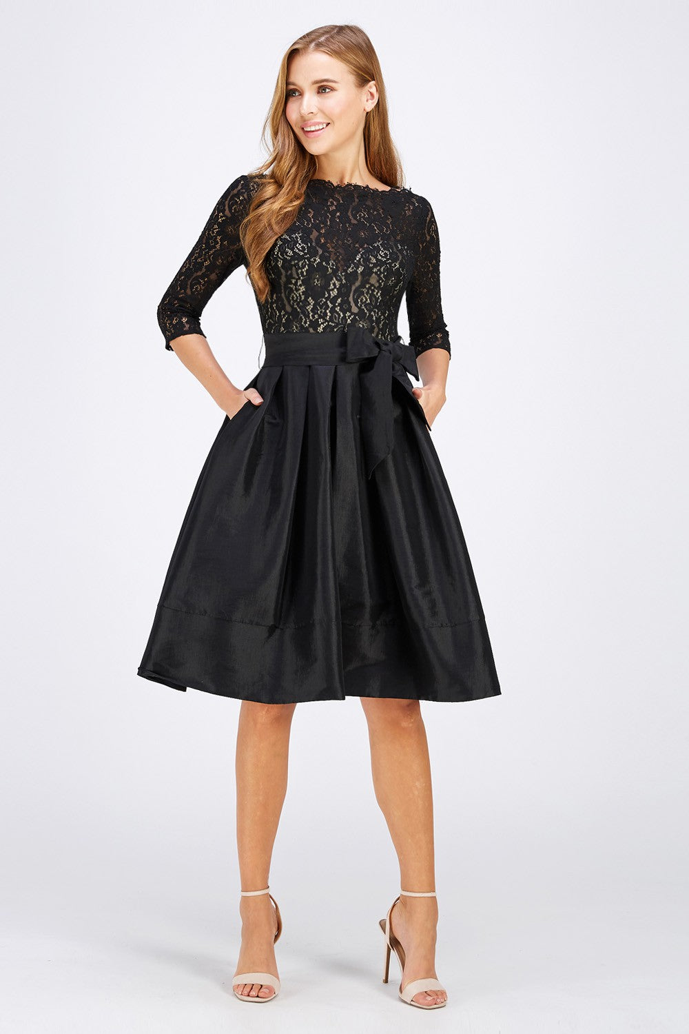 Modest Lace Bodice Taffeta Skirt