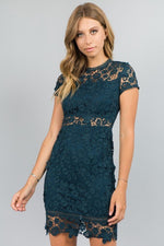 High Neck Laced Midi Dress