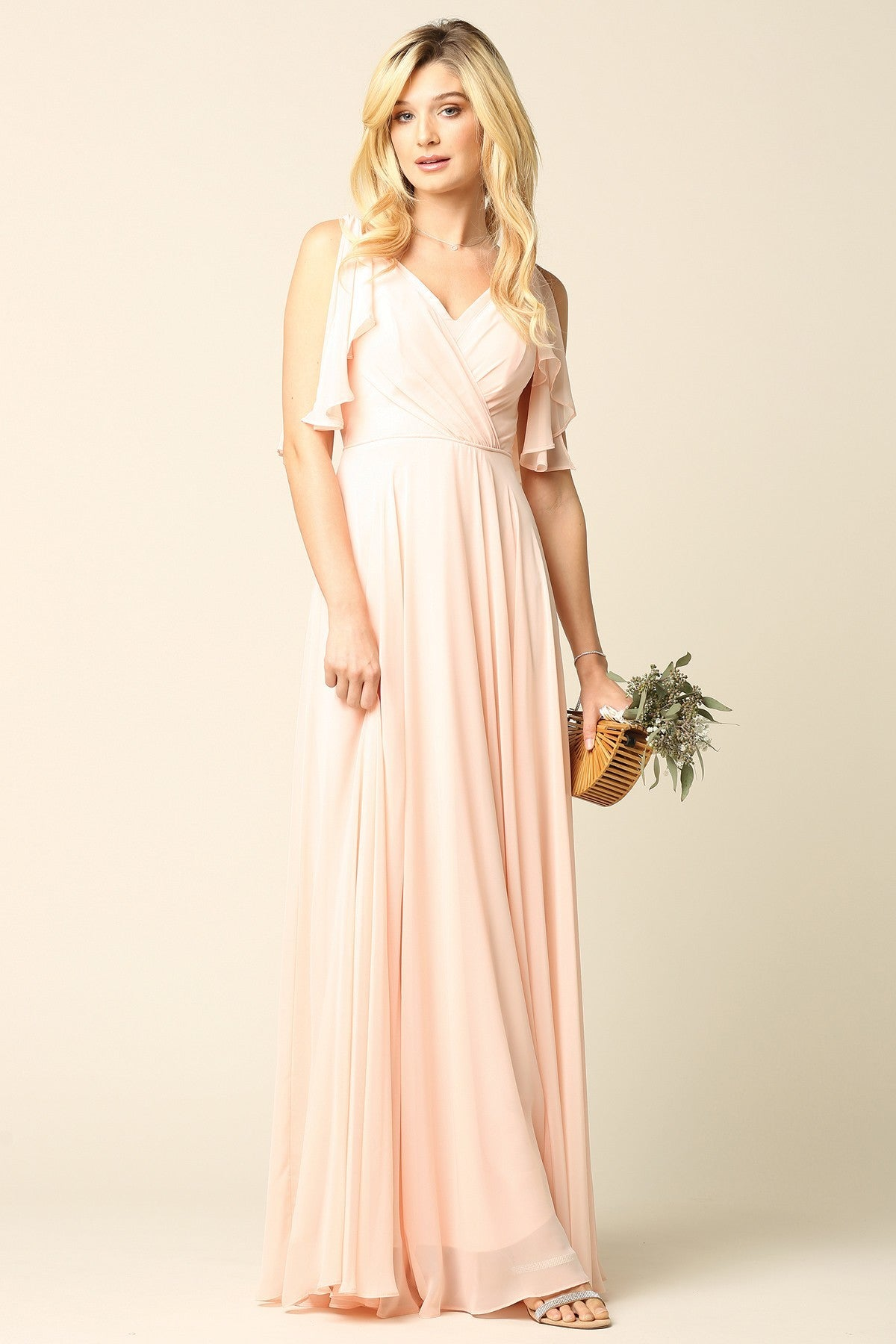 Open Sleeve Chiffon Gown