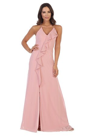 Ruffled Chiffon Gown with Slit