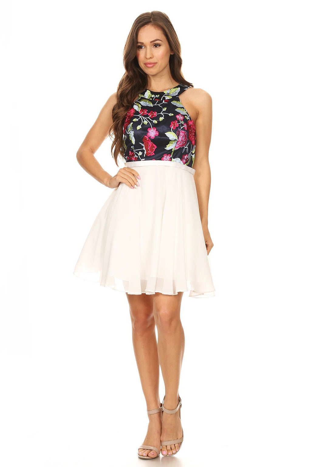 Floral Embroidered Bodice Midi