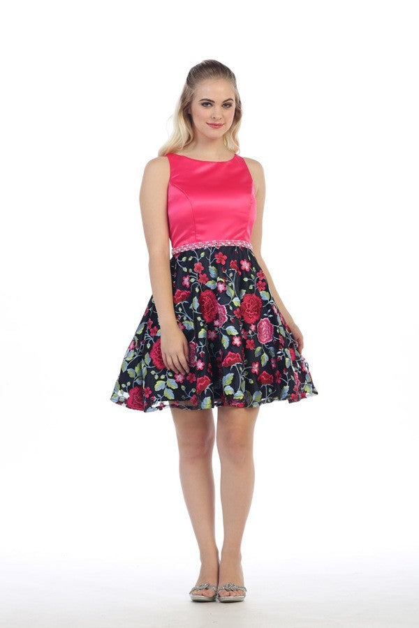 Floral Skirt Solid Bodice Midi