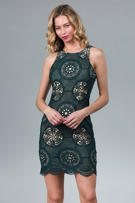 Hunter Green Laced Midi Dress