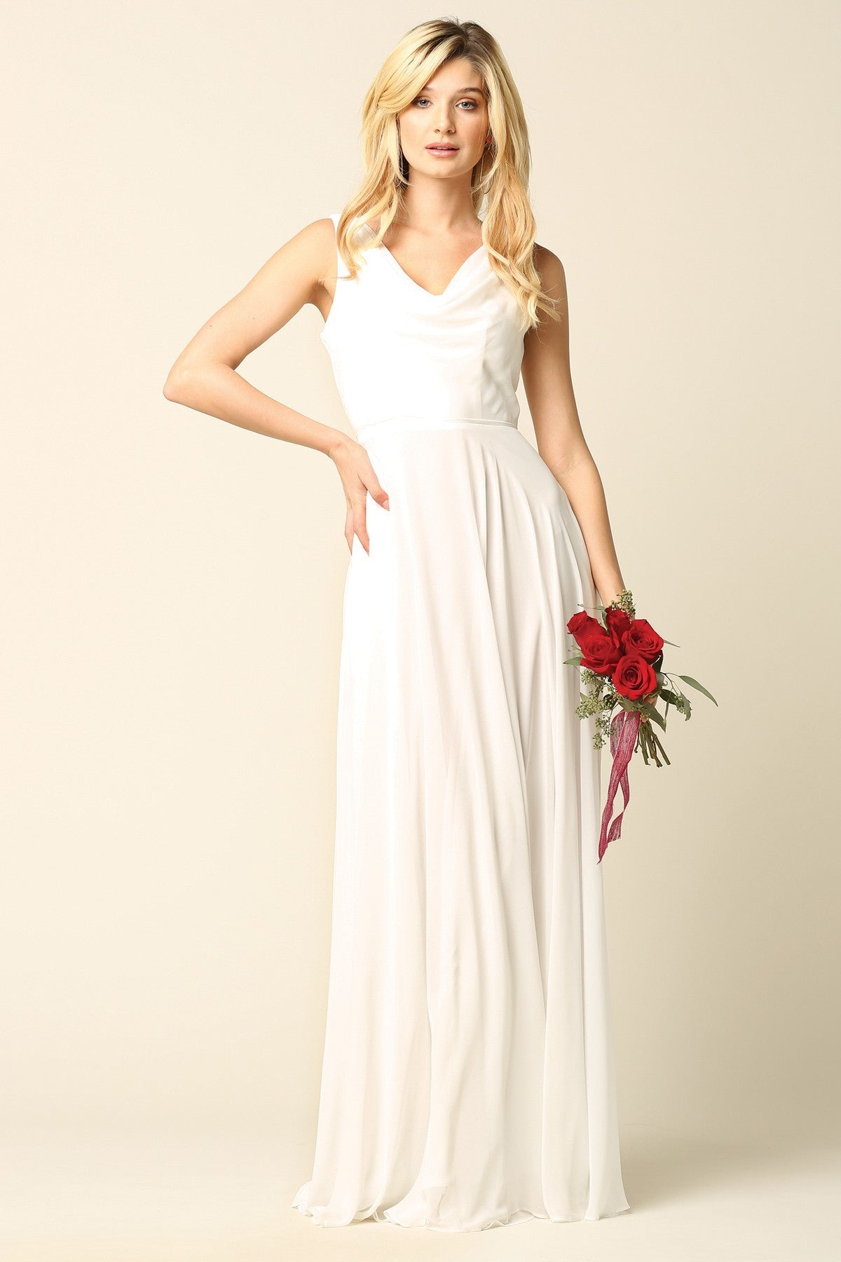 Cowl Neck Chiffon Gown