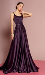 Eggplant Lace Back Ballgown