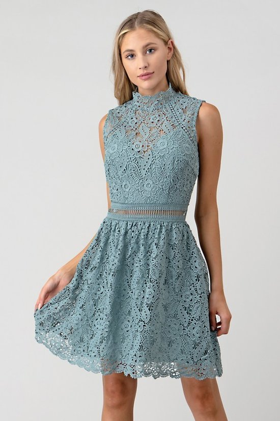 Seafoam Mock Neck Lace Midi
