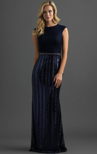 Navy Cap Sleeve Fitted Sequin Dress
