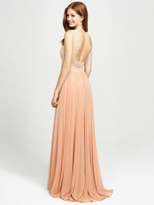 Blush Tank V-Neck Applique Chiffon Dress