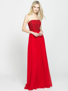 Red Strapless Beaded Bodice Chiffon Dress