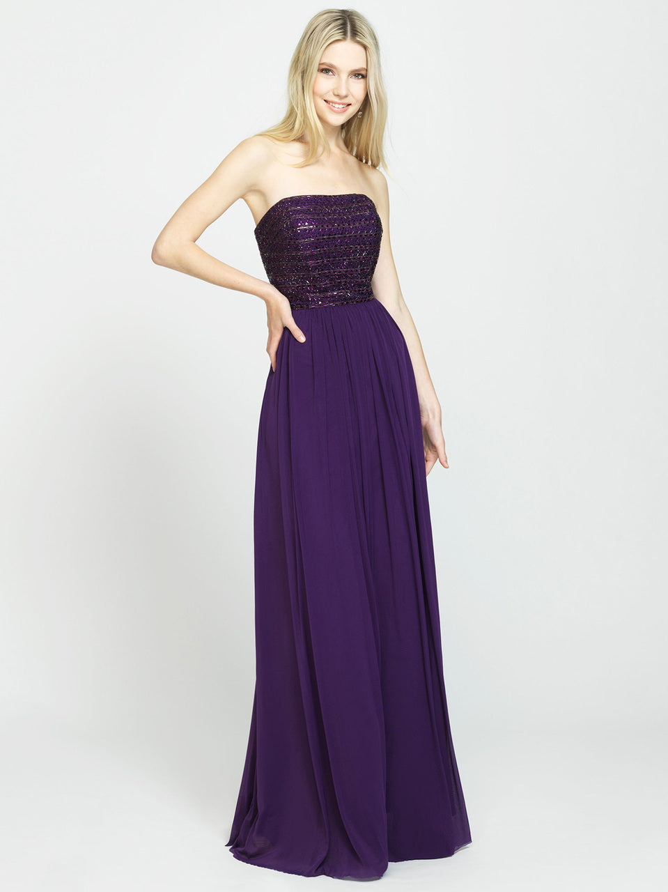Purple Strapless Beaded Bodice Chiffon Dress