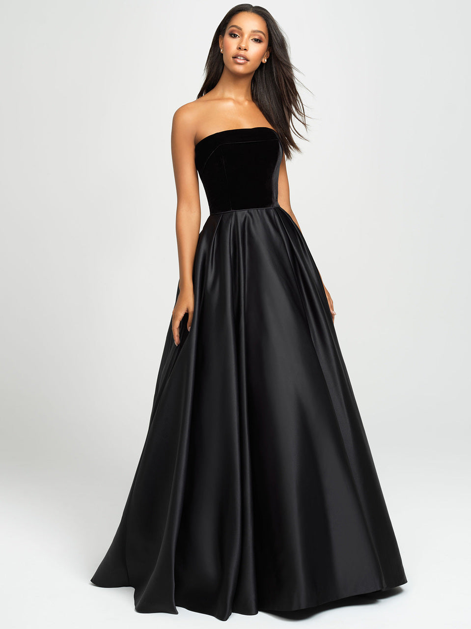 Black Strapless Velvet Bodice Dress