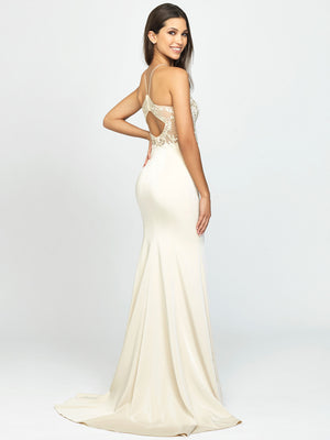 Champagne Lace Halter Open Back Dress